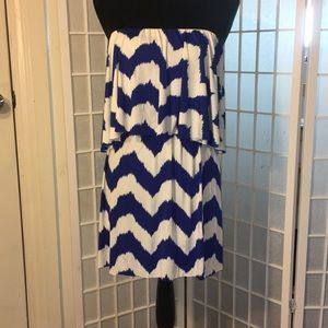 Teabags, Tbags, T-bags blue/white dress, small